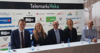 Fra lanseringen av TelemarksVeka med representanter for prosjektet, Visit Telemark, Telemark Fylkeskommune og Bø Sommarland.