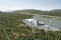Slik ser Polarsirkelen Lufthavnutvikling for seg at den ferdige flyplassen kan se ut. (Illustrasjon: Polarsirkelen Lufthavnutvikling)