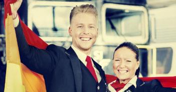 SJs Simon Herrmansson og Jessica Ristiaho  ønsker å kjøre tog også i Norge. (Foto: SJ)
